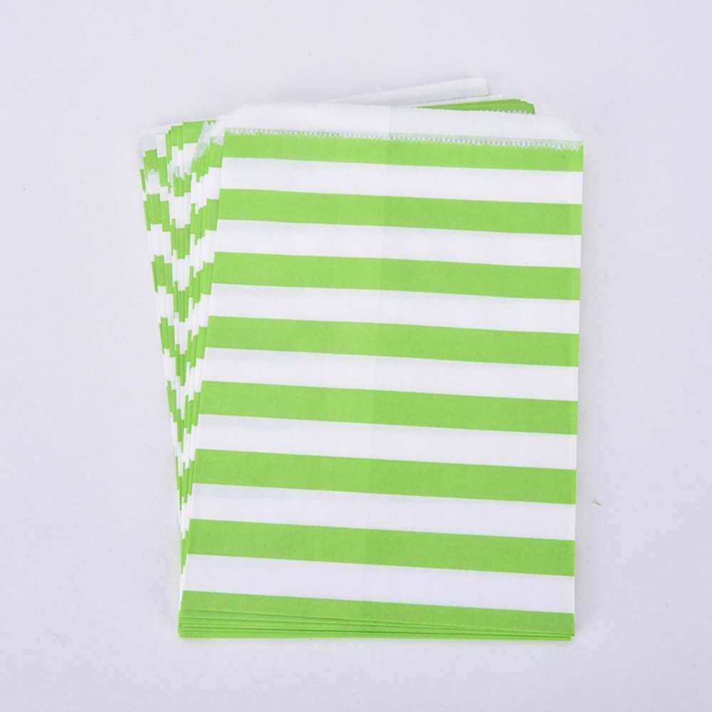 100x Candy Stripe Paper Bags Sweet Favour Green Fruit Party Sweets Wedding Cake Buffet Gift By Bsgxshdak.