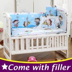 100x58cm 5pcs Set Blue Monkey Baby Bedding Set Kids Crib Bedding Set Baby Cot Bumper Cp01 By Nezababy.