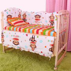 100x58cm 5pcs Set Cartoon Baby Bedding Set Kids Cot Bedding Set Big Mouth Monkey Baby Crib Bumper Cp01 By Nezababy.