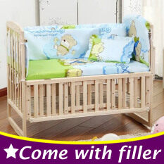 100x58cm 5pcs Set Newborn Baby Crib Bedding Set Kids Cot Bedding Set Blue Bear Baby Cot Bumper Cp01 By Nezababy.