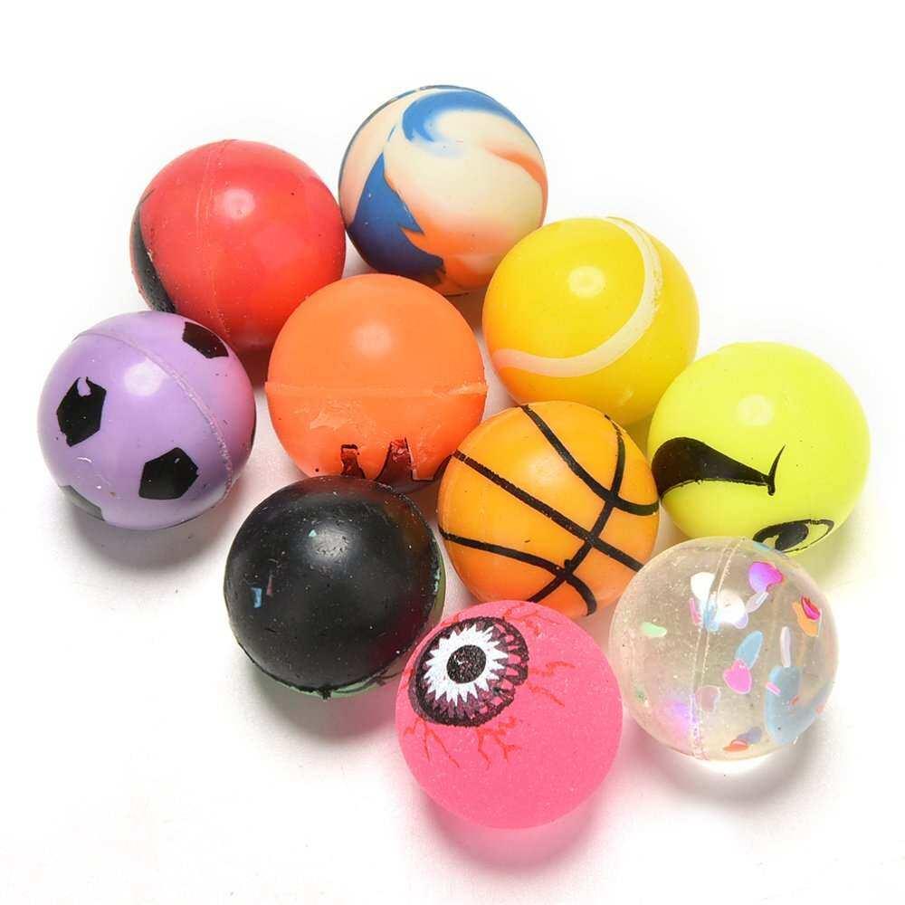 10 Pcs สี 27mm Bouncy ลูกบอลอัดก๊าซกระเป๋าเด็ก Pinata ฟิลเลอร์ของเล่นสำหรับ Loot By Aajqcqwf.