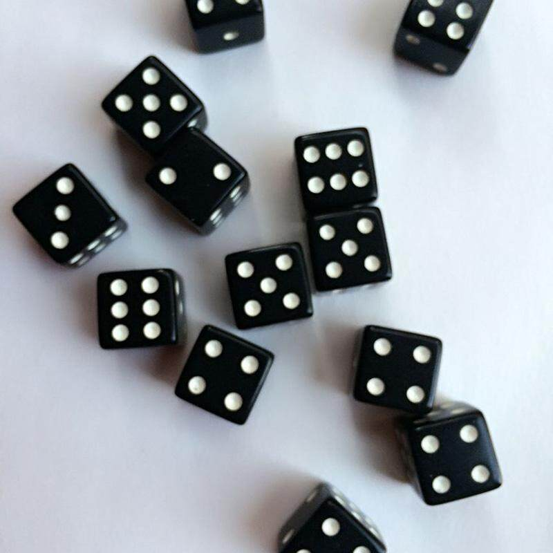 Hình ảnh 10pcs Dice Dices Standard Six Sided Square Opaque Die Black With White Pips