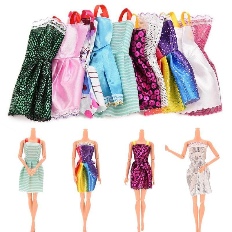 10 Pcs Anak-Anak Natal Buatan Tangan Mini Gaun Untuk Boneka Barbie Boneka-Intl By Super Babyyy.