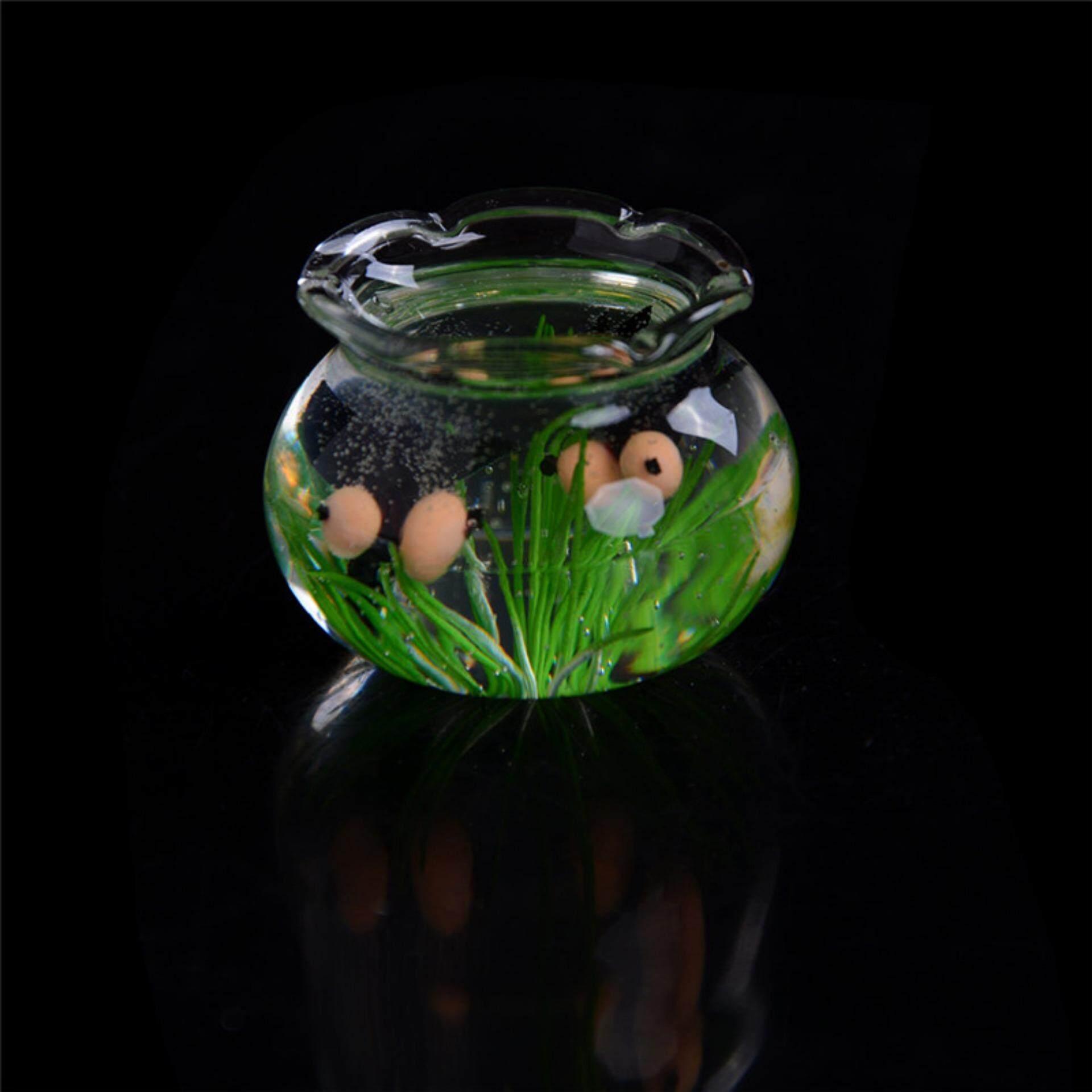 1:12 Miniatur Kaca Ikan Tangki Transparan Akuarium Rumah Boneka Ornamen Dekorasi Hitam-Internasional