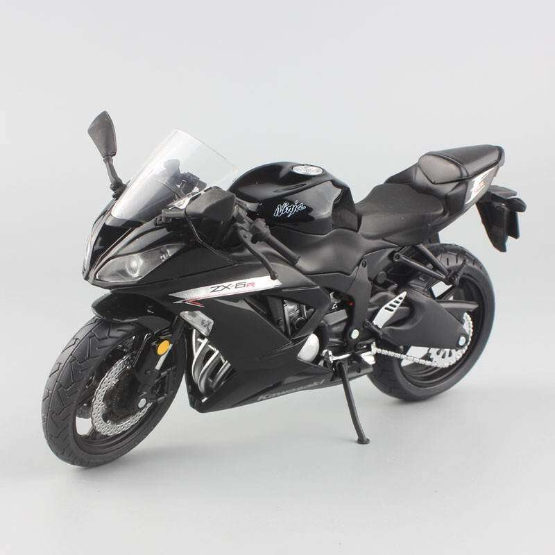 Kmdshxns 1:12 Skala Mini Kawasaki Ninja ZX-6R Motor Sport Model Motor Besi