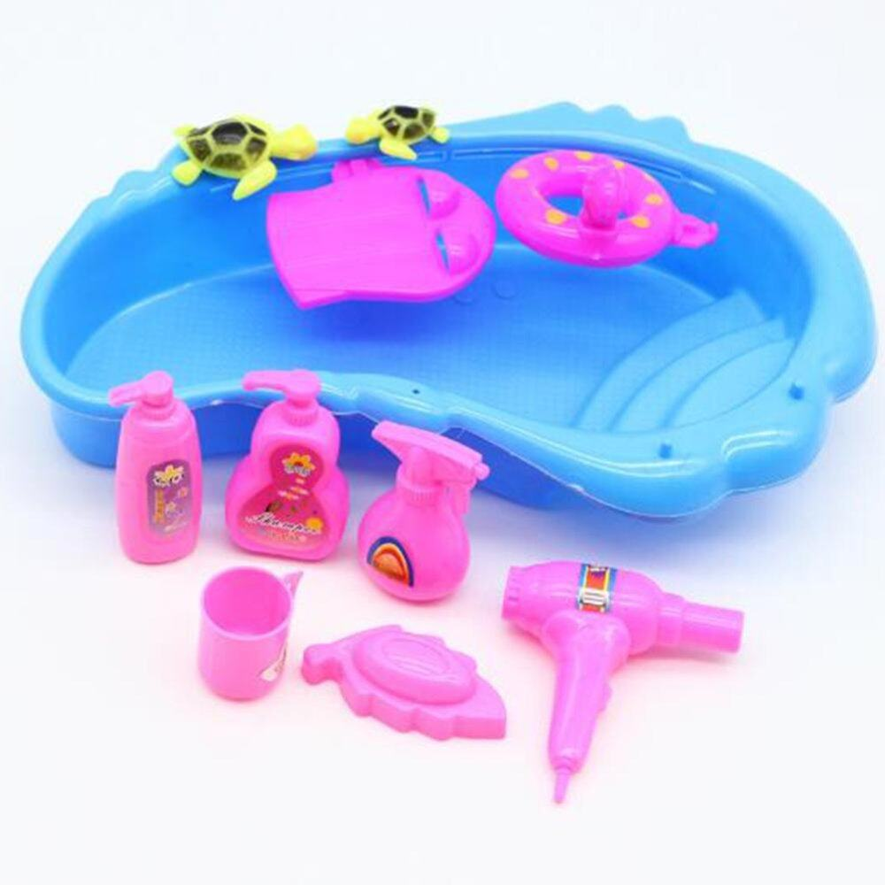 11 Pcs Perlengkapan Mandi Kolam Mandi Pengering Rambut SOAP SET untuk Boneka Barbie Acak Warna-Internasional