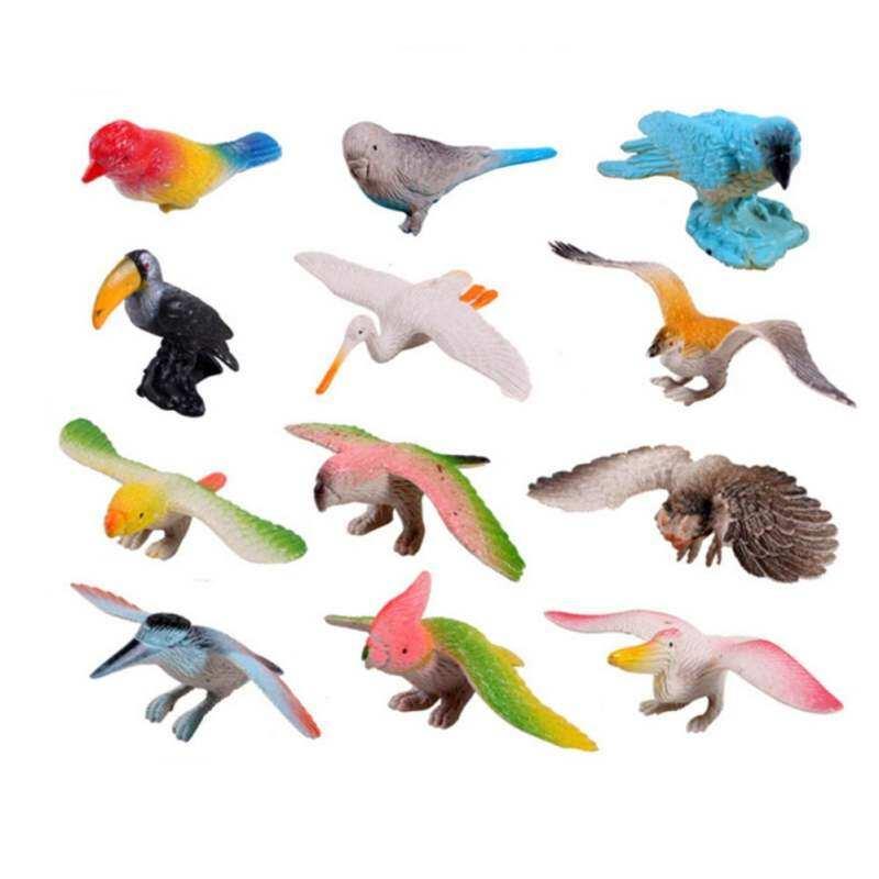 Kmdshxns 12 Pcs/set Patung Burung Set Mainan Anak-anak Hewan Keras Anak Kit