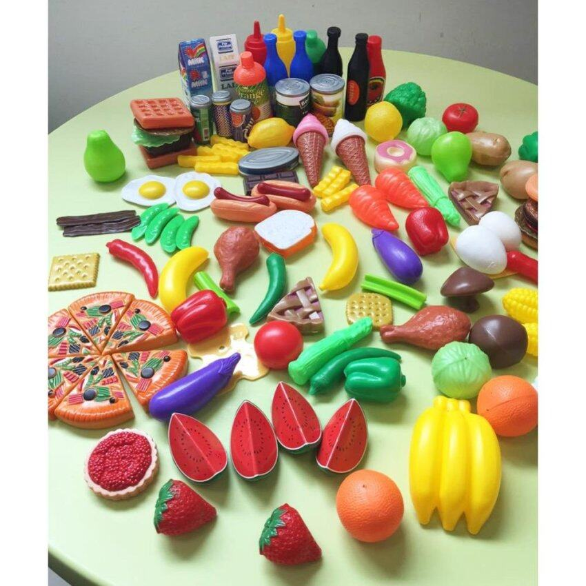 120Pcs Plastic Food Fruits Vegetables Toy Set Kitchen Pretend Play Toy for Kids