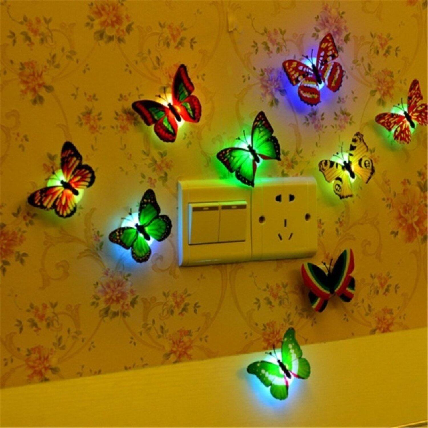 Features 12pcs Butterfly Lights Flashing Colorful 3d Butterfly Wall ...