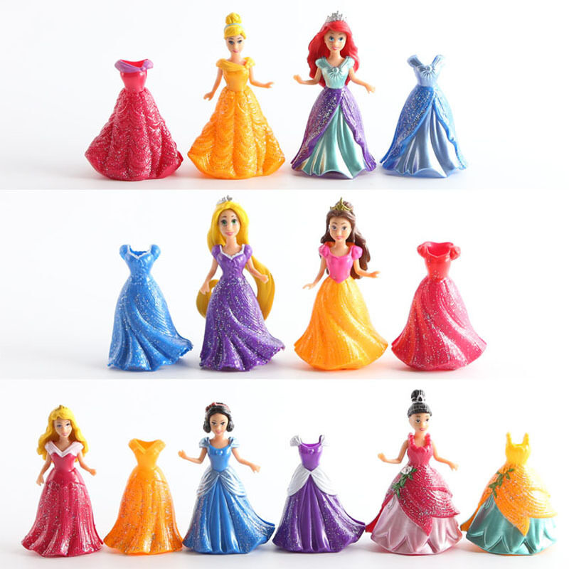 14Pcs/Set Princess Figures PVC Action Figures Toys Dolls Dress Clothes Changeable 8~9cm