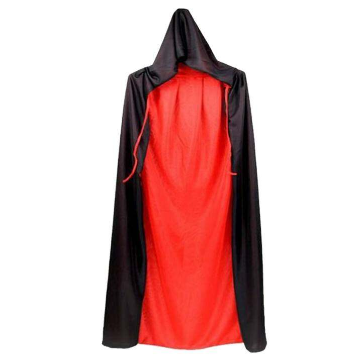 150cm Unisex Cool Black And Red Dual Sided Halloween Masquerade Christmas Witch Wizard Cloak Cape Costume with Hood Halloween Role Play Dress-up Supplies