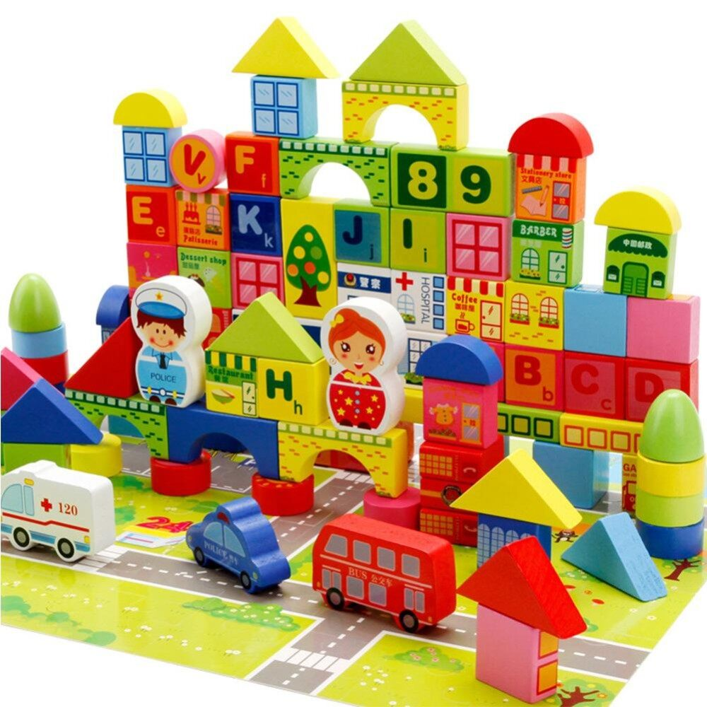 Best Offer 160Pcs Children Wooden Building Blocks City Traffic Scene Education Learning Toys Children Gifts Style Bagged Building Blocks Intl