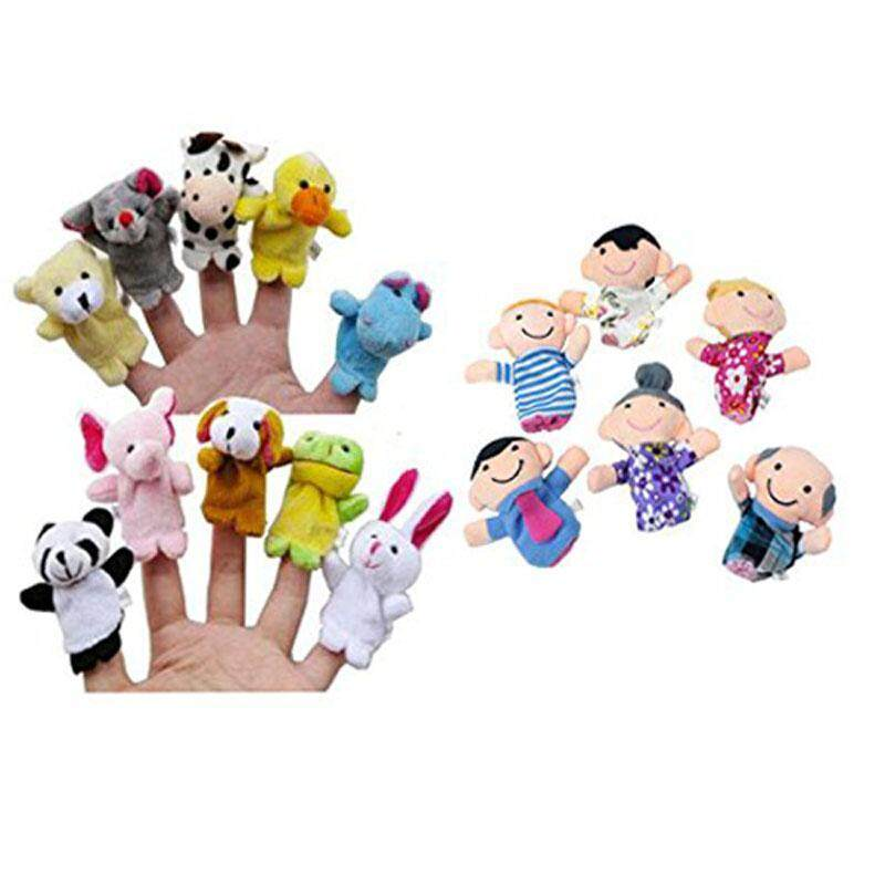 16PC Finger Puppets Animals People Family Members Educational Toy