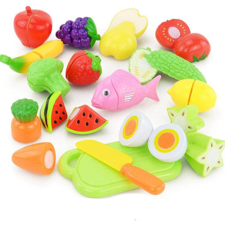 16PCS Cutting Fruit Vegetable Food Pretend Play Children Kid Educational Toy Multicolor