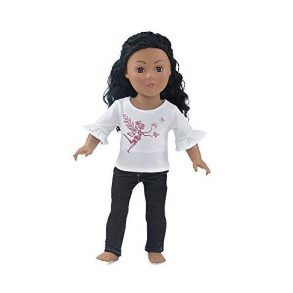 18 Inch Doll Clothes Black Stretch Skinny Jeans Outfit, Including 3/4 Length Sleeved T-Shirt with Pink Glitter Fairy Princess Print Fits American Girl Dolls - intl