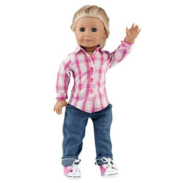 18 Inch Doll Clothing Multi-color Plaid button-down Shirt & Crop Doll Dark Jeans, Tennis shoes included-Set Fits American Girl Dolls & More! - intl