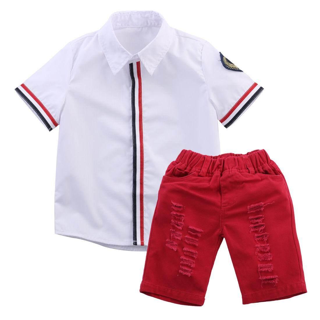 ... Wanita Keren / Set Modern ... Source · Cherry' house 2-7Y Kids White Shirt Tops+Red Ripped Shorts Children Boys