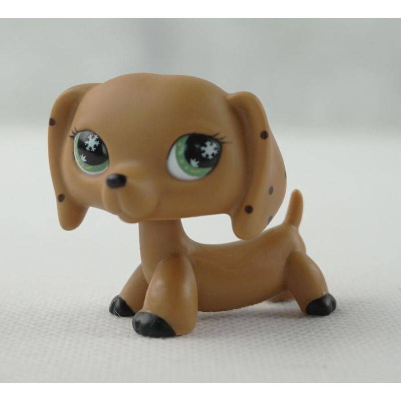 2 Inches Littlest Pet Shop LPS Brown Monopoly Dachshund Dog Snowflake Green Eyes Brown Black Spotted