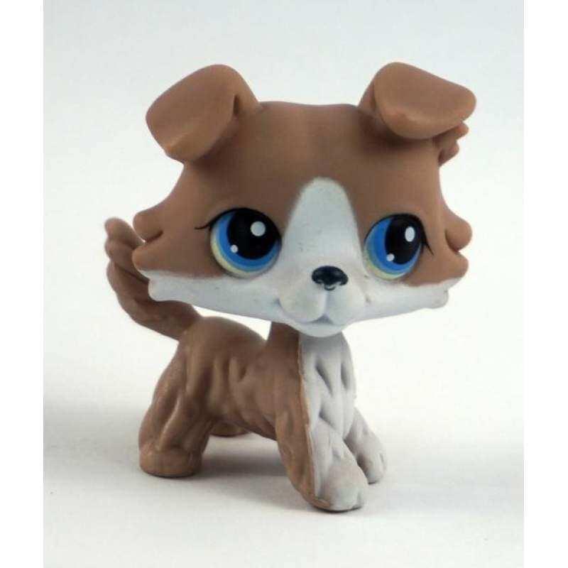2 Inches Littlest Pet Shop LPS Figure Grey White Collie Dog #67 Puppy Blue Eyes