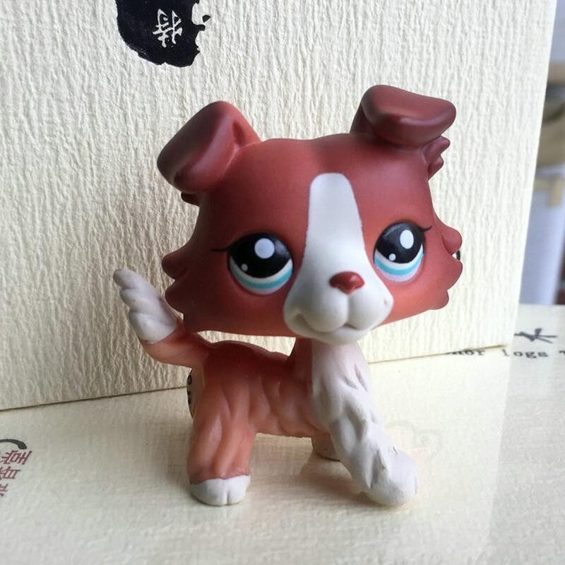 Retail Price 2 Inches Lps Littlest Pet Shop Burgundy White Collie Dog Purple Eyes G*Rl Toys Intl