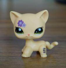 2 Inches Rare Hasbro Littlest Pet Shop LPS Cute Purple Flower Kitty Cat Green Eyes Toys