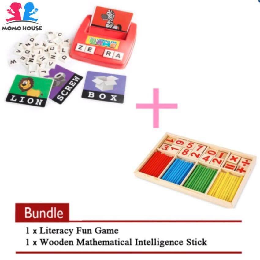 MOMO House [2 pcs] VALUED BUNDLED - Literacy Fun Games + Wooden Mathematical Intelligence Stick