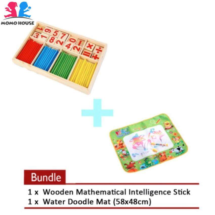 MOMO House [2 pcs] VALUED BUNDLED - Wooden Mathematical Intelligence Stick + [58x48cm] Water Doodle Mat / Water Drawing Painting Mat