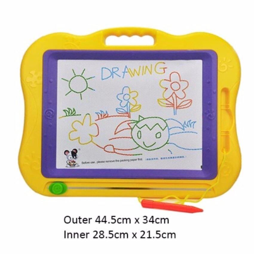 2 Pens Kids Magnetic Erasable Drawing Board Extra Large Size FREE 1pc Fruit Stamp with 8 Colours Zone Doodle Sketch