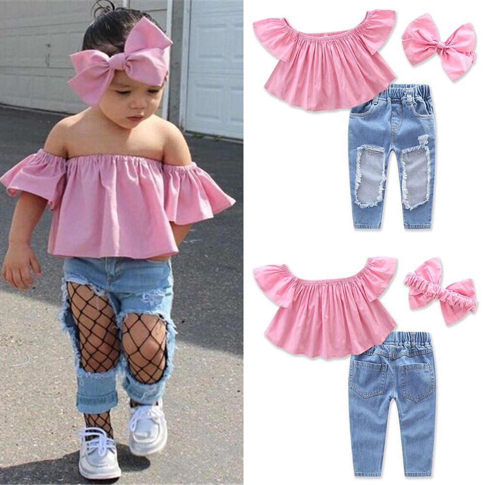 9ae55d28115f2 2018 New Fashion Toddler Kids Girl Clothes Summer Off shoulder Pink T-shirt  Tops+