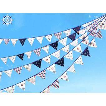 Jualan 24 Pcs/23 Feet Anchor Fabric Banner, Colored Pennant Flag, Vintage Triangle