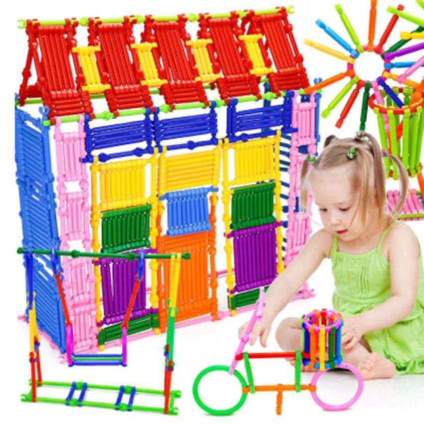 250pcs Kids Building Blocks Sticks Multicolor Plastic Assemble Educational Puzzle Toy