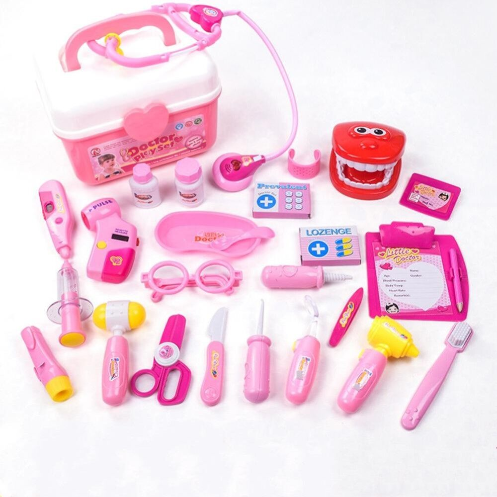 Retail Price 25Pcs Kids Simulation Medicine Box Doctor Toys Sets Funny Pretend Play Nurse Medical Kits For Children Style 25 Piece Set Pink Intl