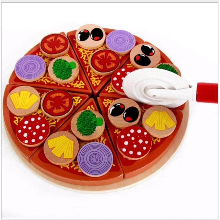 27 pcs High Quality Creative Wooden Toys Pizza Cooking Cutting Accessories Pretend Kitchen Play House Toy