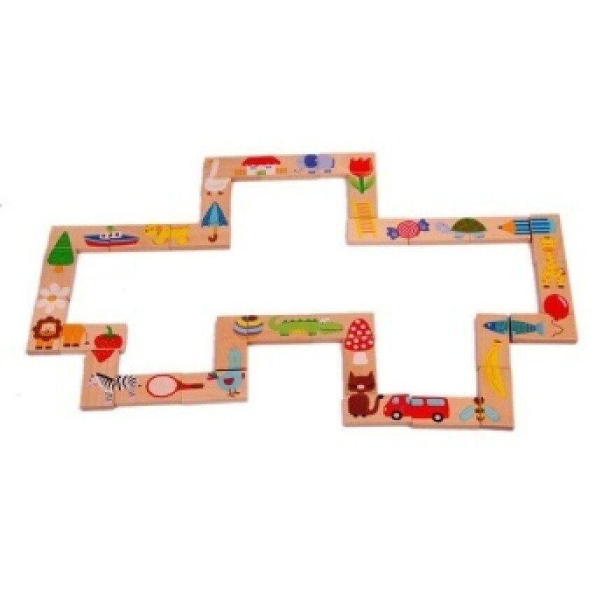 Rp 335.500 28 Pcs/set Mainan Bayi Kayu Domino Hewan Solitaire Dominoeswooden Blok Pendidikan Bayi