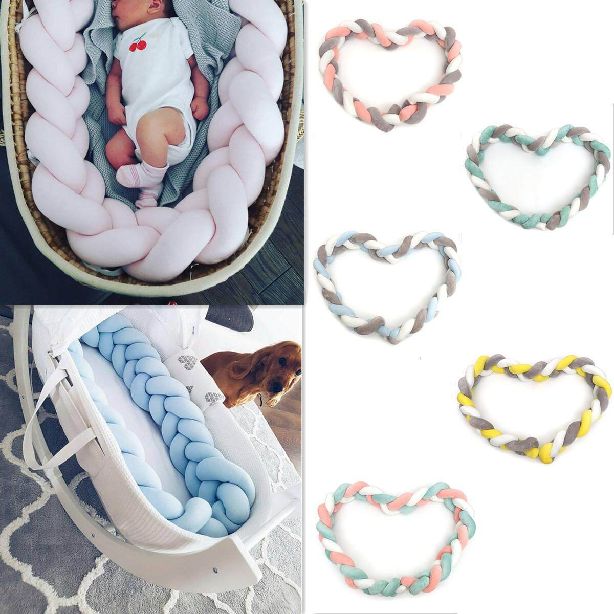 2M Infant Baby Plush Bumper Bed Bedding Crib Cot Braid Pillow Cushion Protector White Grey Pink Intl Shopping