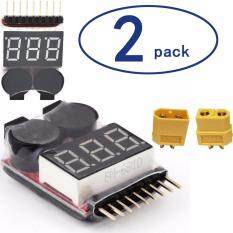 2pcs 2 In 1 Rc Lipo Battery Low Voltage Tester Checker 1s-8s Buzzer Alarm Plus With 1 Pair Female And Male Xt60 Connectors And 4pcs Plastic Straps By Webster.