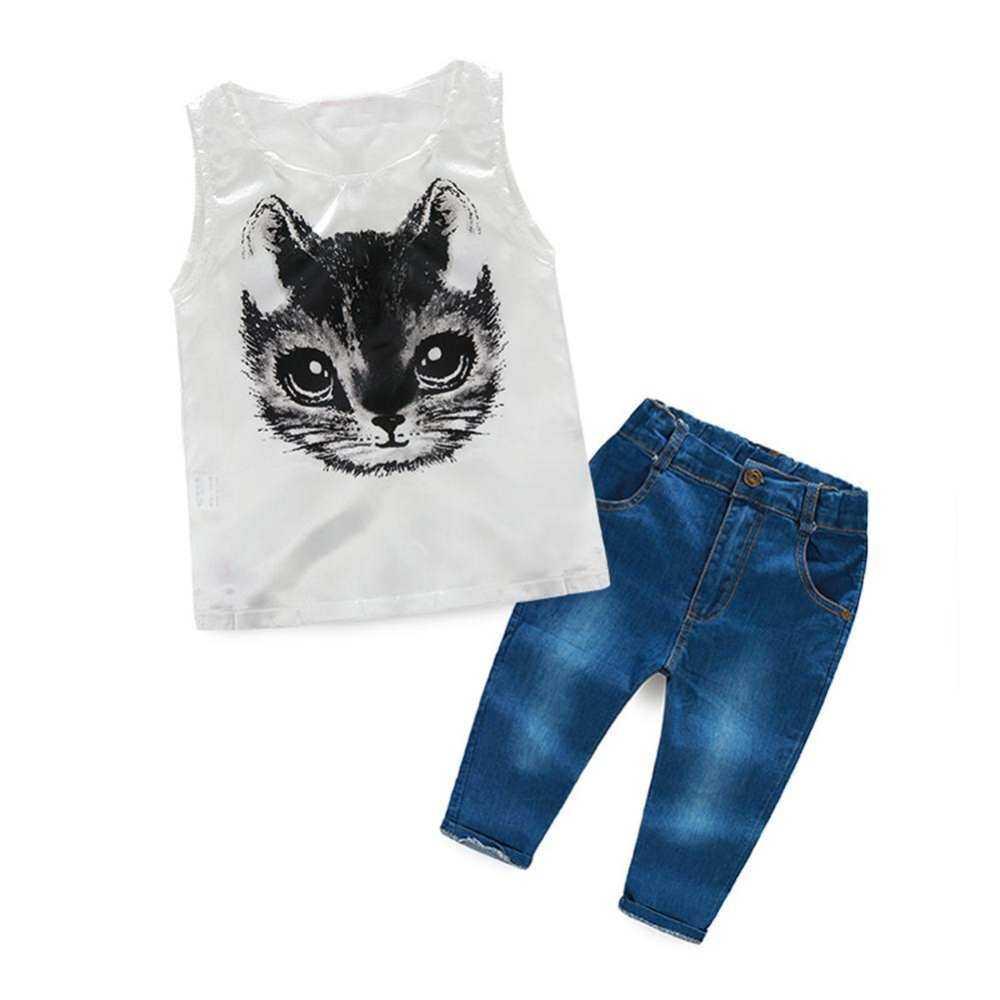 HSGA16RS 2 Pcs Anak-anak Kucing Kartun Cewek Cetak Celana Tanpa Lengan Rompi Pakaian Jins