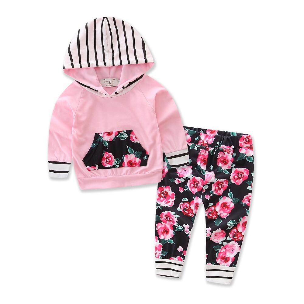 Buy Sell Cheapest Soonyip Girls Clothing Best Quality Product Baju Bayi Newborn Lengan Panjang 2 Pcs Baru Lahir Gadis Kaus Bertudung Atasan Celana Pakaian