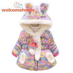 2pcs/set Korean Winter Baby Kids Girls Fleece Down Cotton-Padded Coat Scarf By Welcomehome.