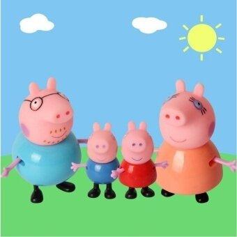2set 8pcs/lot Plastic Pink Pig Toys PVC Action Figures FamilyMember Pig Toy Baby Kid