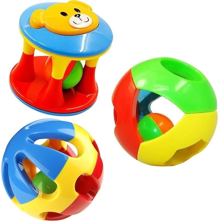 3 Pcs Set Anak Balita Bayi Instrumen Musik Mainan Pengocok Plastik Bel Dering Bola Tangan Shaker Kado Pendidikan-Intl