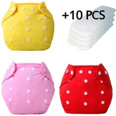 3+10 Pcs Baby Newborn Diapers Reusable Nappies Training Pant Adjustable Size Children Washable Diapers Inserts 3 Layers By Gebistore.