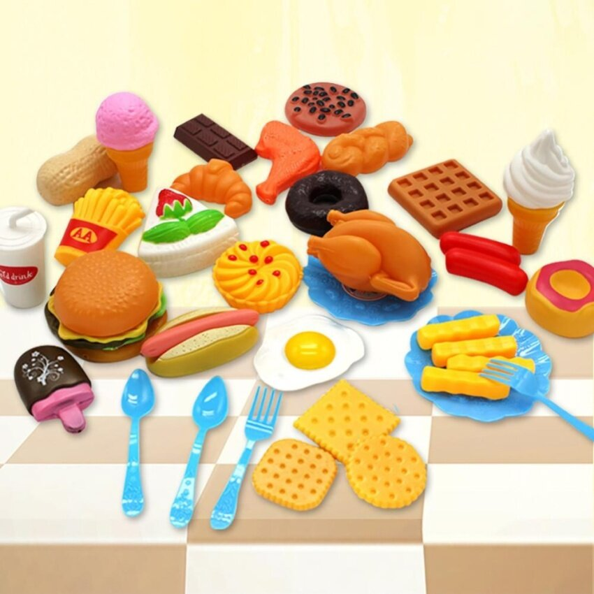 34pcs Plastic Fast Food Playset Mini Hamburg French Fries Hot Dog Ice Cream Cola Food Toy for Children Pretend Play Gift for Kids by LuckyGirl Store