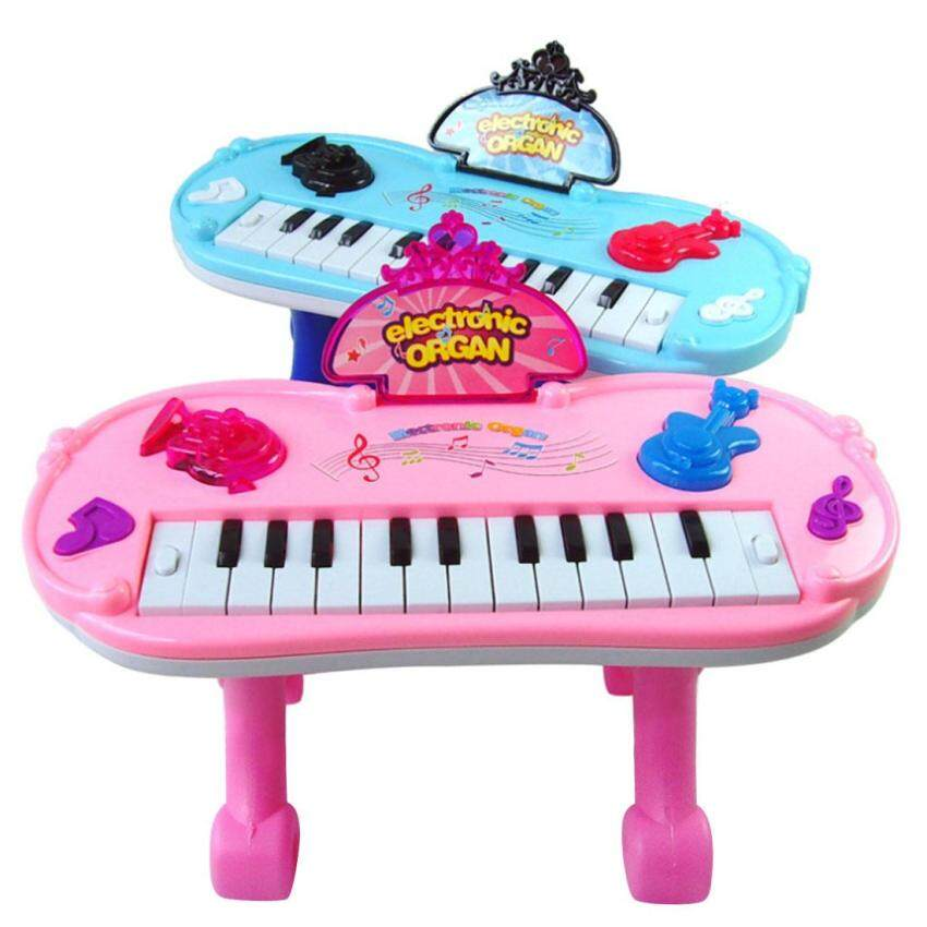 360DSC Multifunction Electronic Organ Music Keyboard Piano with Flash Light & Stand Kids Children Educational Toy - Color Random