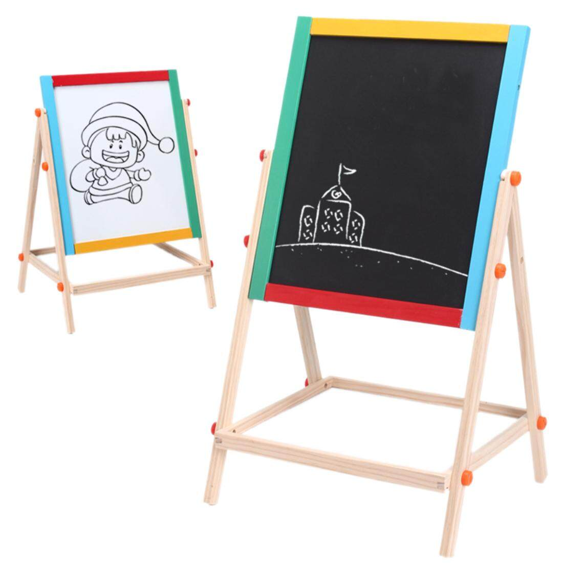 Hình ảnh 360DSC Wooden Double-sided Magnetic Drawing Board Writing Board Sketchpad Easel - intl