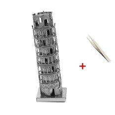 3D Metal Puzzle adult models educational toy Leaning Tower of Pisa Metal Stainless Steel DIY Assembly Model with a Pincette Tool Best
