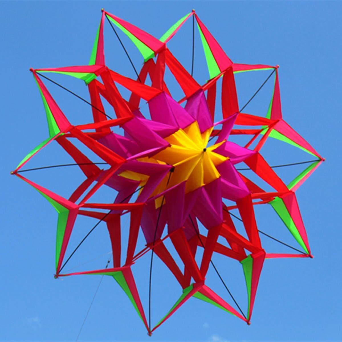 Hình ảnh 3D Rainbow Hoa Nhiều Màu Sắc Diều Dây Chuyền Đơn Thể Thao Ngoài Trời Cánh Bay Đồ Chơi Trẻ Em-quốc tế
