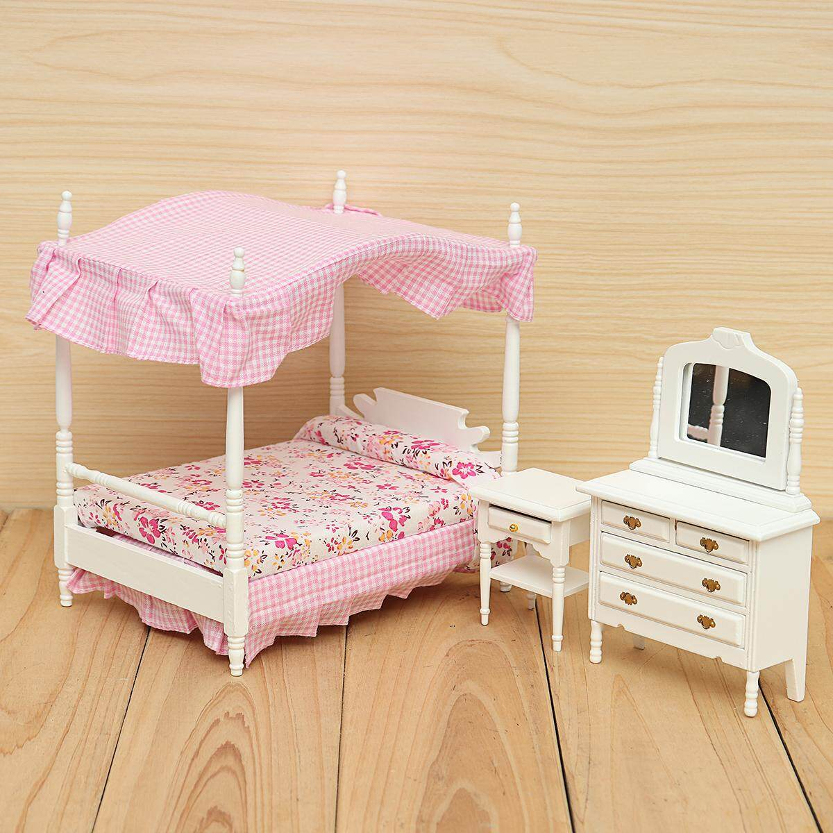 3Pcs 112 Dollhouse Miniature Furniture Pink Princess