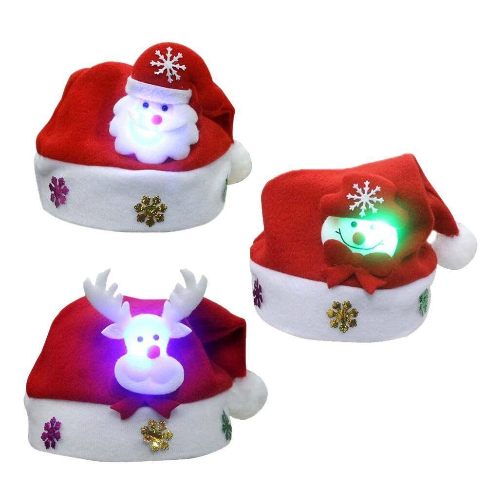 41ce547d16b61 3PCS Unisex Cute Children s Christmas Santa Claus Cap Light Kids Decoration  Hat with Christmas Girls