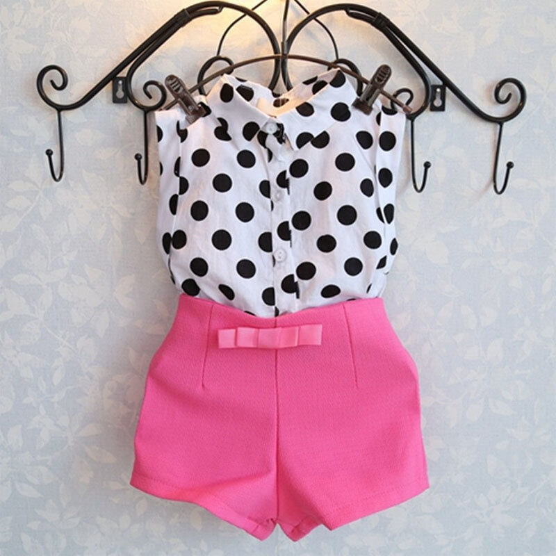 b791270a74b 3T-7T 2018 summer new girl baby suit lapel shirt with sleeveless shirt + bow